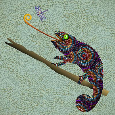 Iguana Painting - Colorful Beaded Chameleon by Elaine Plesser