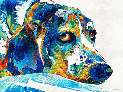 Colorful Beagle Dog Art By Sharon Cummings Art Print
