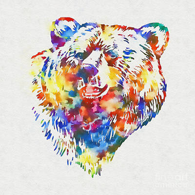 Mixed Media - Colorful Bear Art by Olga Hamilton