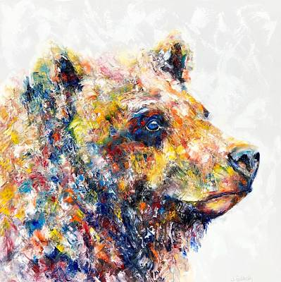 Painting - Colorful Bear Painting Blue Eyed Bear by Jennifer Godshalk