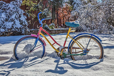 Photograph - Colorful Bike In The Snow by Debra and Dave Vanderlaan