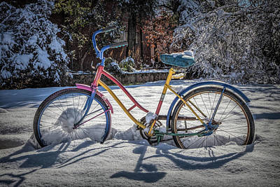 Photograph - Colorful Bike In The Snow In Hdr Detail by Debra and Dave Vanderlaan