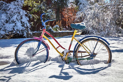Photograph - Colorful Bike In The Snow Painting by Debra and Dave Vanderlaan