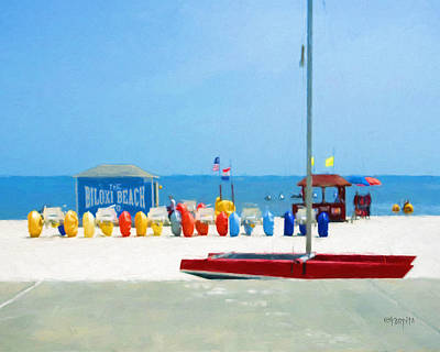 Photograph - Colorful Biloxi Beach - Umbrellas Sailboat by Rebecca Korpita