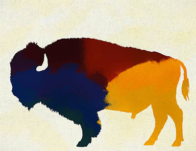 The American Buffalo Painting - Colorful Bison by Dan Sproul