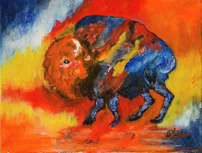 Painting - Colorful Bison by Lucille Valentino