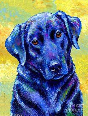 Colorful Black Labrador Retriever Dog Art Print