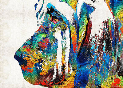 Colorful Bloodhound Dog Art By Sharon Cummings Art Print by Sharon Cummings