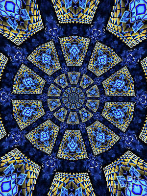 Patterned Photograph - Colorful Blue Kaleidoscopic Design by Amy Cicconi