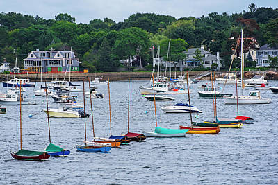 Photograph - Colorful Boats Lined In Marblehead Harbor Marblehead Ma by Toby McGuire