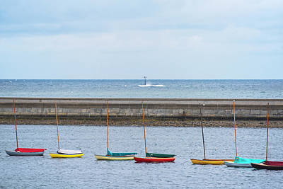 Photograph - Colorful Boats Lined Up By The Marblehead Harbor Causeway Marblehead Ma by Toby McGuire
