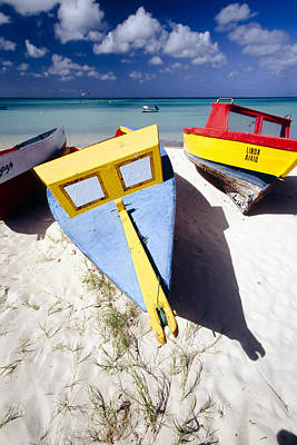 Beach Photograph - Colorful Boats On  Eagle Beach  Aruba by George Oze