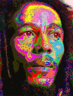 Painting - Colorful Bob Marley by Samuel Majcen