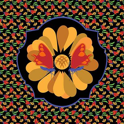 Digital Art - Colorful Bohemian Butterfly Floral by MM Anderson