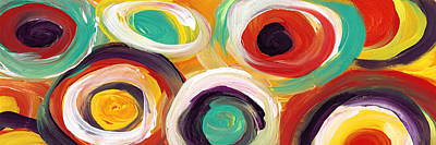 Painting - Colorful Bold Circles Panoramic by Amy Vangsgard
