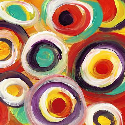 Painting - Colorful Bold Circles Square 1 by Amy Vangsgard