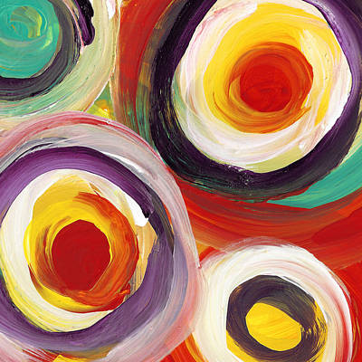 Painting - Colorful Bold Circles Square 3 by Amy Vangsgard