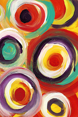 Painting - Colorful Bold Circles Vertical by Amy Vangsgard