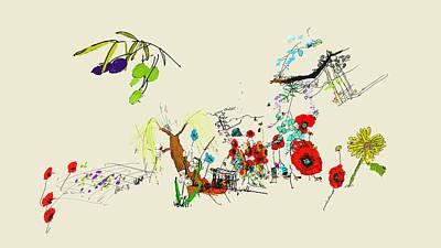 Digital Art - colorful botanical  in 3D by Debbi Saccomanno Chan
