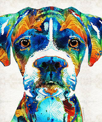 Portrait Dog Painting - Colorful Boxer Dog Art By Sharon Cummings  by Sharon Cummings