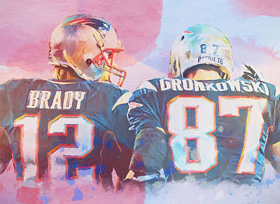 Brady Painting - Colorful Brady And Gronkowski by Dan Sproul