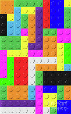 Digital Art - Colorful Bricks Background by Giadoart Gianni D'Orio