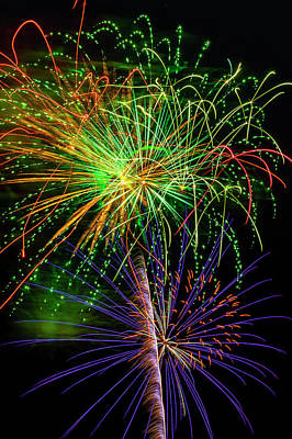 Photograph - Colorful Bright Fireworks by Garry Gay
