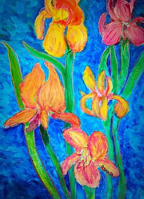 Painting - Colorful Bright Irises by Anne Sands