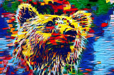 Mixed Media - Colorful Brown Bear by Ayasha Loya
