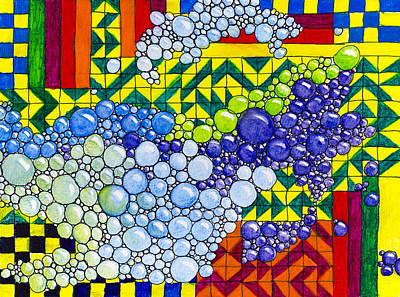 Painting - Colorful Bubbles On Tiles by Lynn Hansen