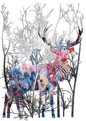 Colorful Buck Art Print by Diana Van