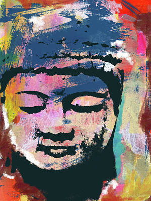 Contemporary Mixed Media - Colorful Buddha 1- Art By Linda Woods by Linda Woods