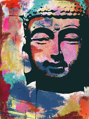 Contemporary Mixed Media - Colorful Buddha 2- Art By Linda Woods by Linda Woods