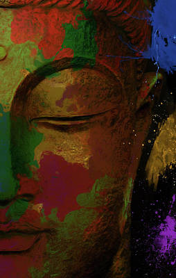 Statue Portrait Painting - Colorful Buddha Half Statue by Dan Sproul