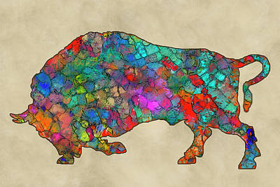 Buffalo Extinction Painting - Colorful Buffalo by Jack Zulli