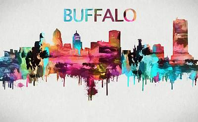 New York Skyline Mixed Media - Colorful Buffalo Skyline Silhouette by Dan Sproul