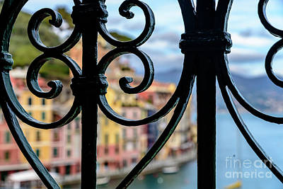 Portofino Italy Photograph - Colorful Buildings Of Portofino, Italy, Through A Wrought Iron Gate by Global Light Photography - Nicole Leffer