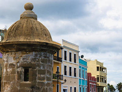Colorful Buildings On A Street In Old San Juan Art Print by George Oze