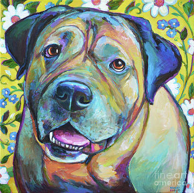 Painting - Colorful Bull Mastiff With Flowers by Robert Phelps