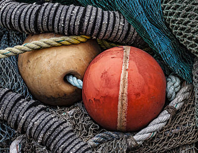 Net Photograph - Colorful Buoys And Nets by Carol Leigh