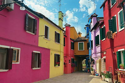 Photograph - Colorful Burano Street View by Songquan Deng