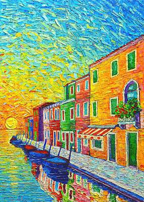 Colorful Burano Sunrise - Venice - Italy - Palette Knife Oil Painting By Ana Maria Edulescu Original