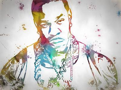Rap Painting - Colorful Busta Rhymes by Dan Sproul
