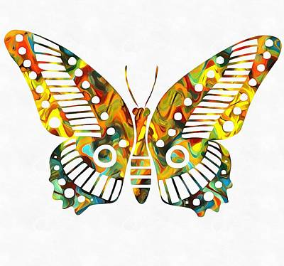 Bright Colours Mixed Media - Colorful Butterfuly by Dan Sproul
