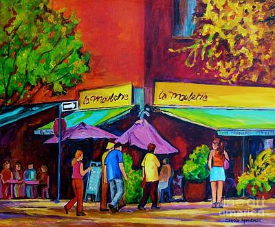 Painting - Colorful Cafes Original Painting For Sale  Paris Style Outdoor Sidewalk Bistro Scene C Spandau Art   by Carole Spandau