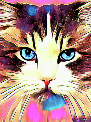 Digital Art - Colorful Calico Cat by Kathy Kelly