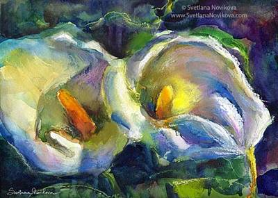 Lilies Photograph - Colorful Calla Flowers Painting By by Svetlana Novikova