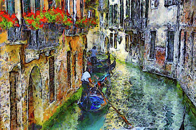 Mixed Media - Colorful Canal In Venice by Georgiana Romanovna