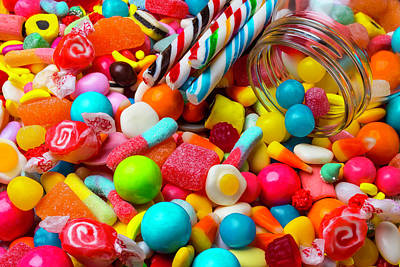 Candy Jar Photograph - Colorful Candy Pile by Garry Gay