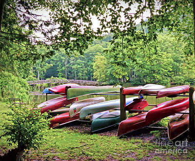 Photograph - Colorful Canoes At Hungry Mother State Park by Kerri Farley